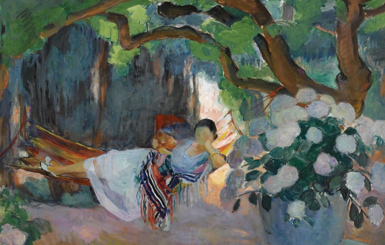 Photo wallpaper picture, genre, Henri Lebasque, Henri Lebacq, Young Woman in hammock