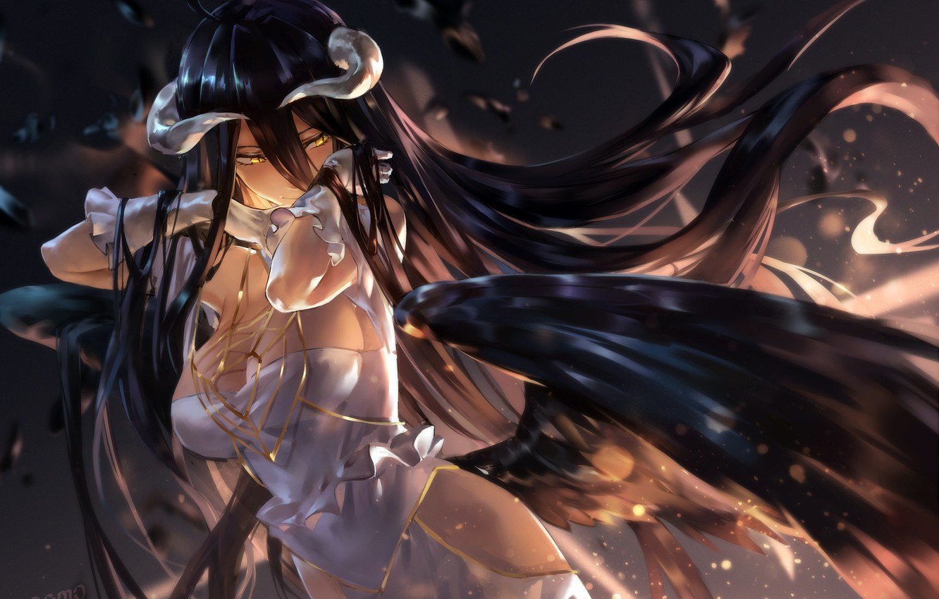 Wallpaper Girl Overlord Cleavage Horns Long Hair Dress Boobs Anime Wings Artwork White Gloves Black Hair White Dress Yellow Eyes Gloves Anime Girl Images For Desktop Section Sejnen Download