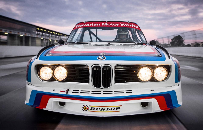 Photo wallpaper Auto, Machine, Logo, BMW, The hood, Lights, The front, German, BMW 3.0 CSL, BMW 3.0, …