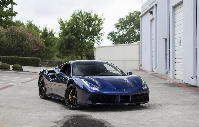 Photo wallpaper Dark, Ferrari, Blue, 488