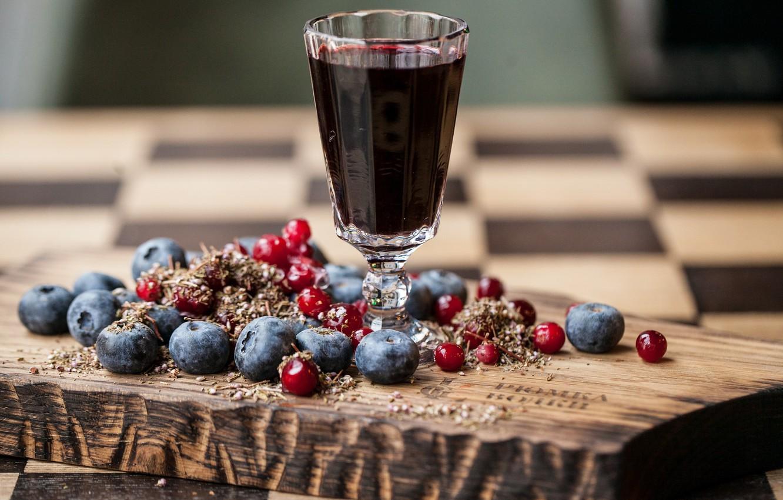 Photo wallpaper berries, blueberries, juice, cranberry
