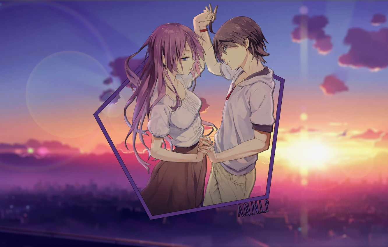 Photo wallpaper sunset, dance, anime, pair, a guy and a girl, madskillz