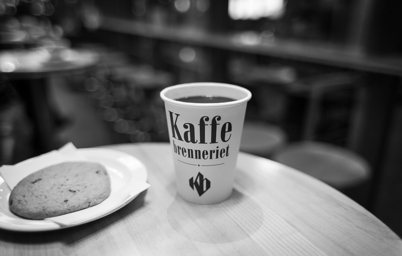 Photo wallpaper coffee, cookies, black and white