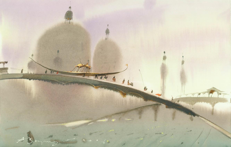 Photo wallpaper boat, Arusha Vozmus, The bridge over the Domes