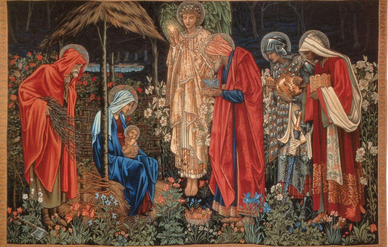 Photo wallpaper The adoration of the Magi, Burne-Jones, of_the_Magi, Tapestry, The Star Of Bethlehem, Adoration