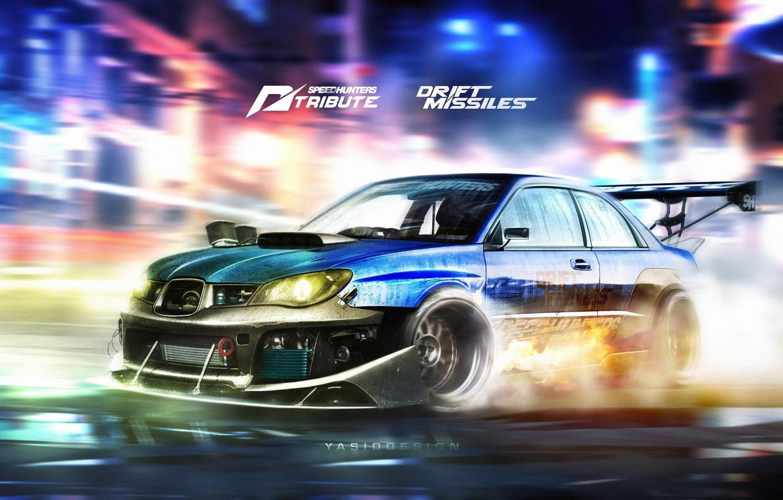 Photo wallpaper Auto, Figure, Blue, Subaru, Impreza, Machine, Movement, WRX, Subaru Impreza WRX, Car, Car, Art, Art, …