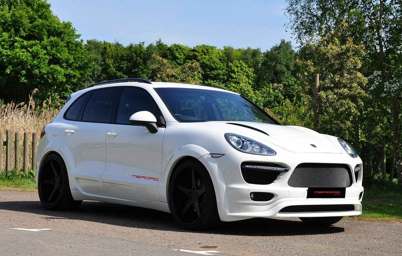 Photo wallpaper Porsche, 2011, White, Cayenne, Merdad
