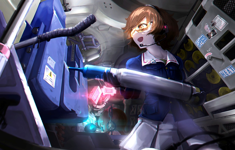 Photo wallpaper girl, weapon, anime, pretty, tank, japanese, bishojo, Girls and Panzer, ammunition, militari