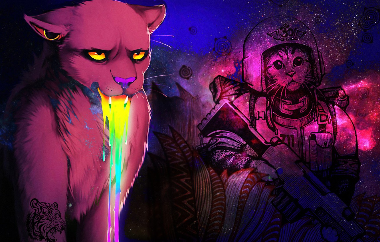 Photo wallpaper eyes, color, space, weapons, cats, beauty, rainbow, the suit, spout, mouth, brightness, clarity, warriors, expressive