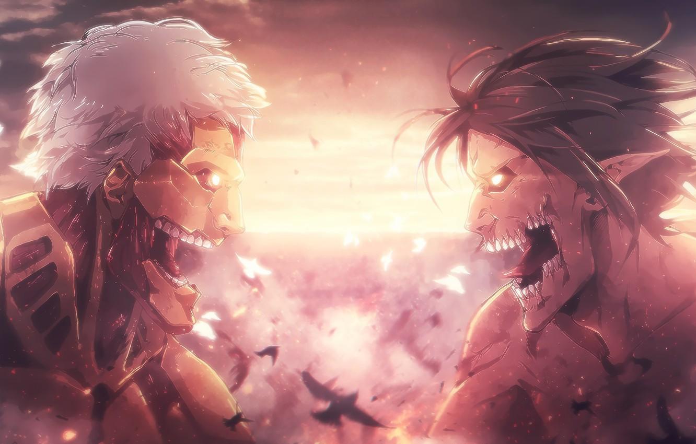 Photo wallpaper monster, anime, fight, asian, giant, manga, japanese, asiatic, Shingeki no Kyojin, Attack On Titan, shounen, …