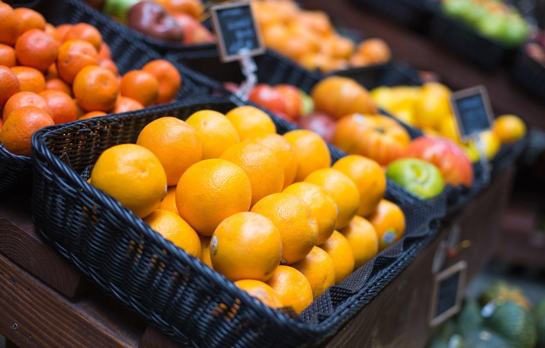 Photo wallpaper oranges, citrus, market, tangerines