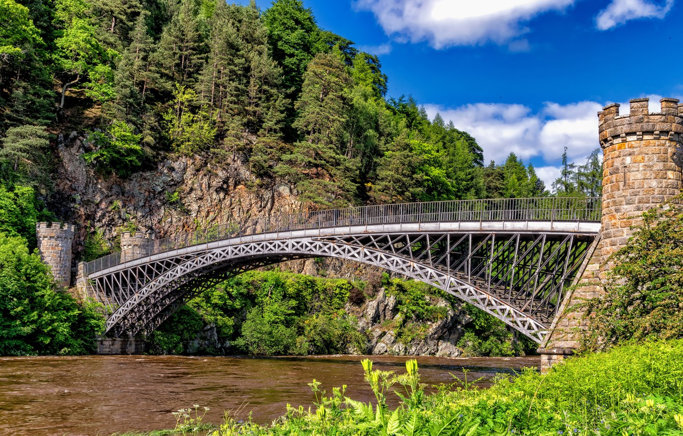 Photo wallpaper mountains, bridge, river, open, England, hdr, river, england, ultra hd, brigde