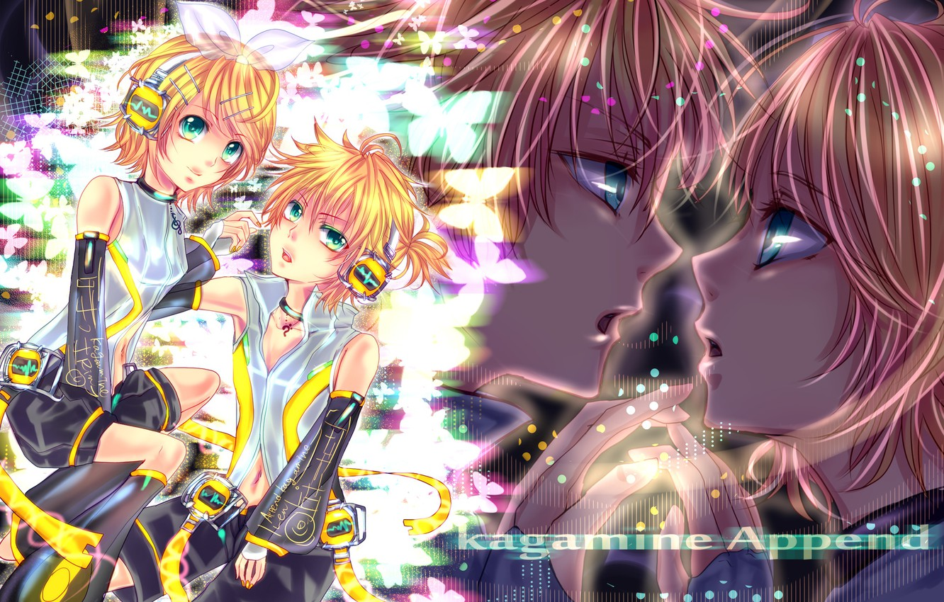 Photo wallpaper headphones, two, bow, Vocaloid, Vocaloid, Kagamine Len, Kagamine Rin