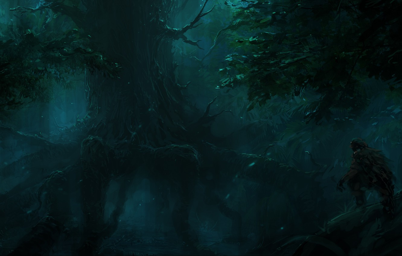Photo wallpaper tree, the darkness, root, ChrisCold, Hunter In The Dark Forest