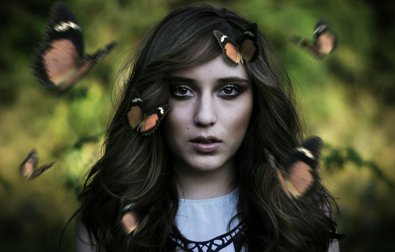 Photo wallpaper look, girl, butterfly, face, mood, hair
