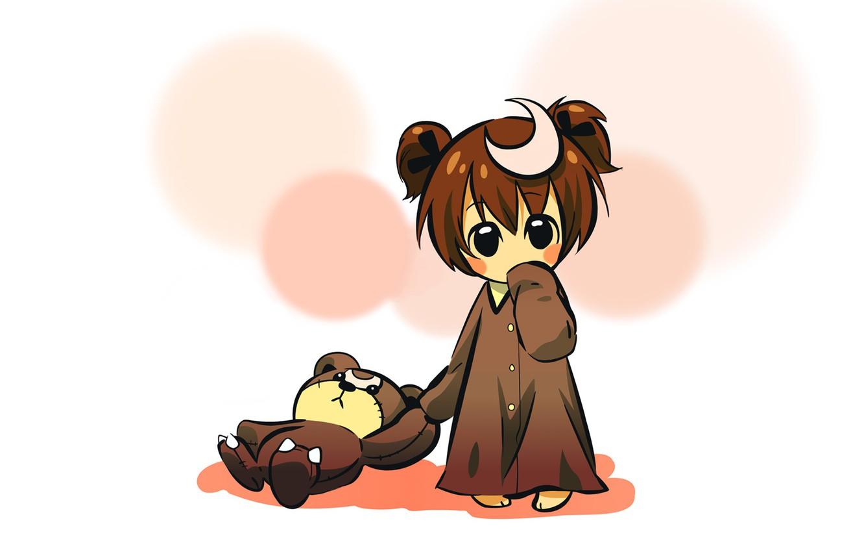 Photo wallpaper moon, minimalism, anime, mood, little girl, Child, teddy bears, simple background, nightgown, baby girl, anime …