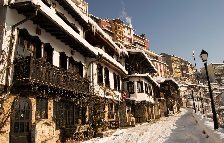 Photo wallpaper winter, the sky, snow, the city, street, tree, home, lights, sky, winter, snow, street, houses, …