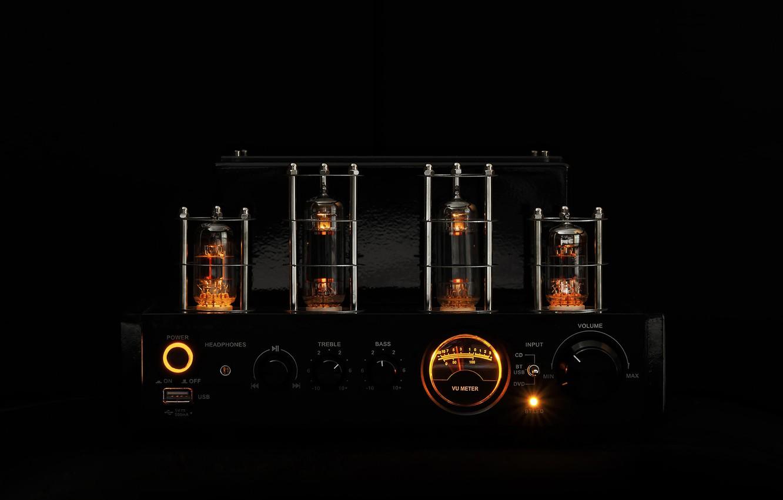 Photo wallpaper music, lamp, sound, dark, black background, amplifier, amplifier, the intensity, tube amplifier