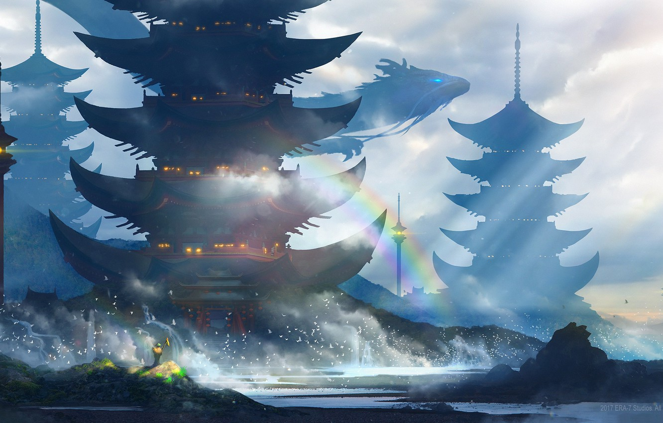 Photo wallpaper sea, wave, squirt, birds, lights, shore, dragon, people, rainbow, tower, Japan, art, flying, the gray …