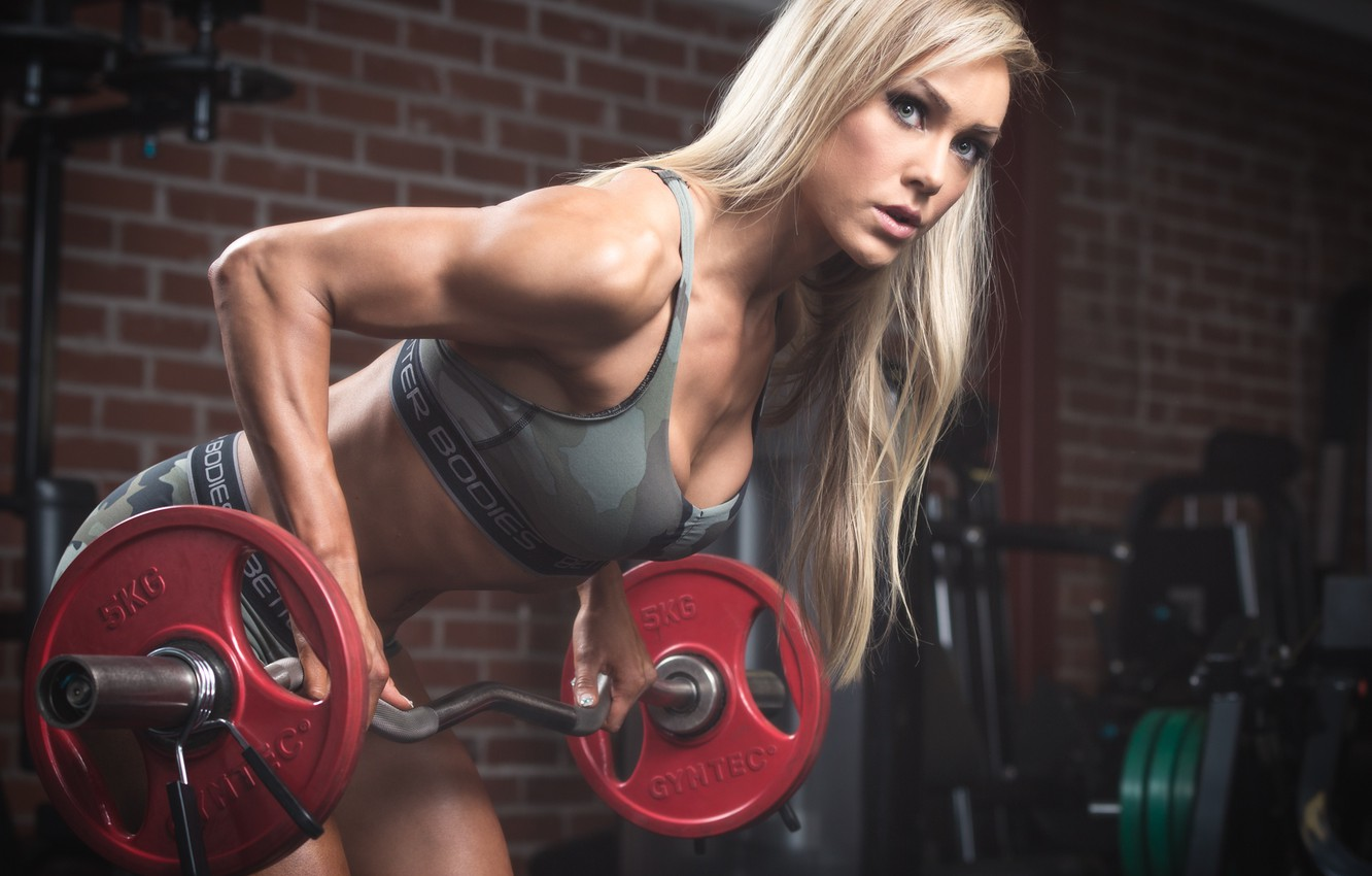 Photo wallpaper look, blonde, workout, fitness