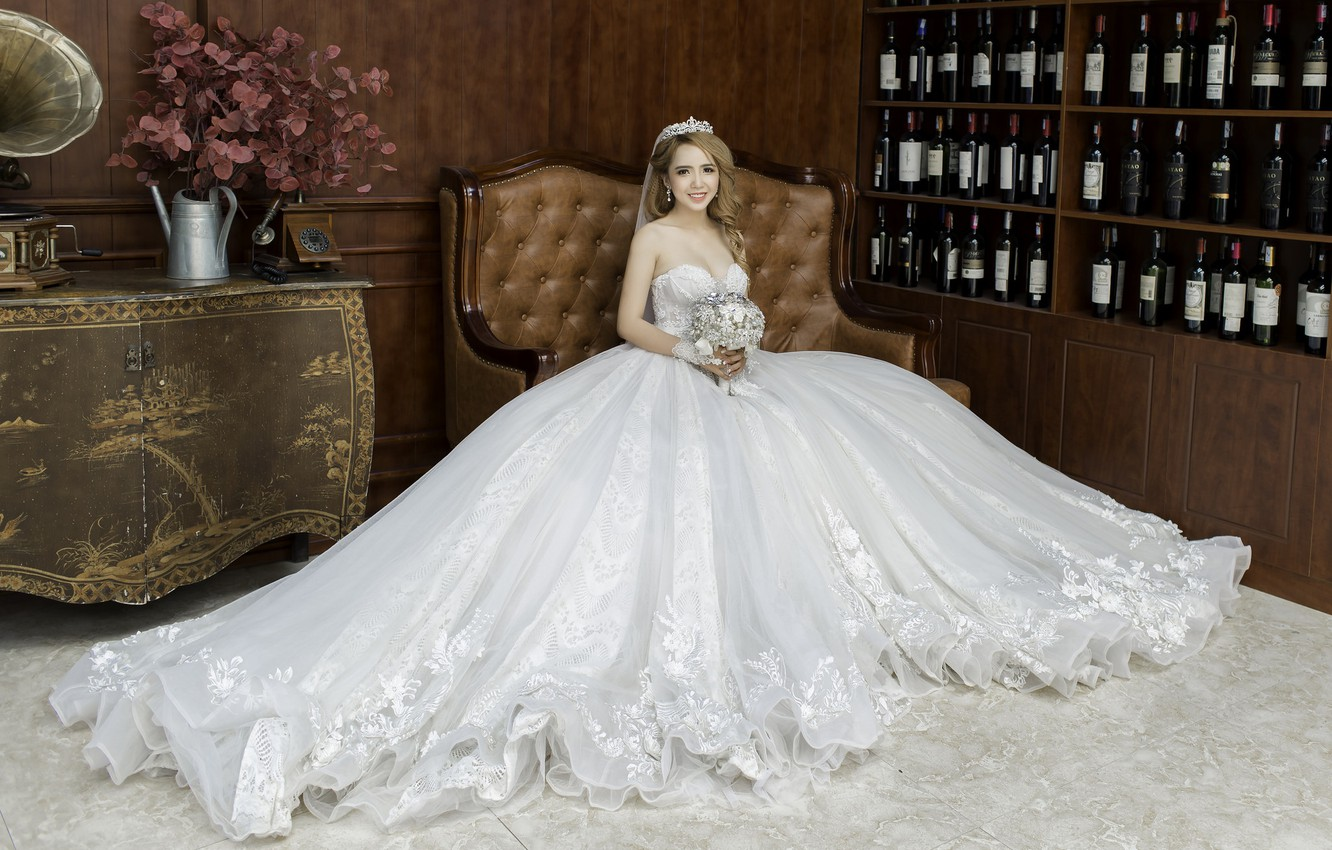 Photo wallpaper holiday, dress, hairstyle, the bride, photoshoot, happy