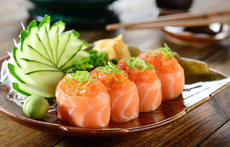 Photo wallpaper greens, fish, plate, vegetables, sushi