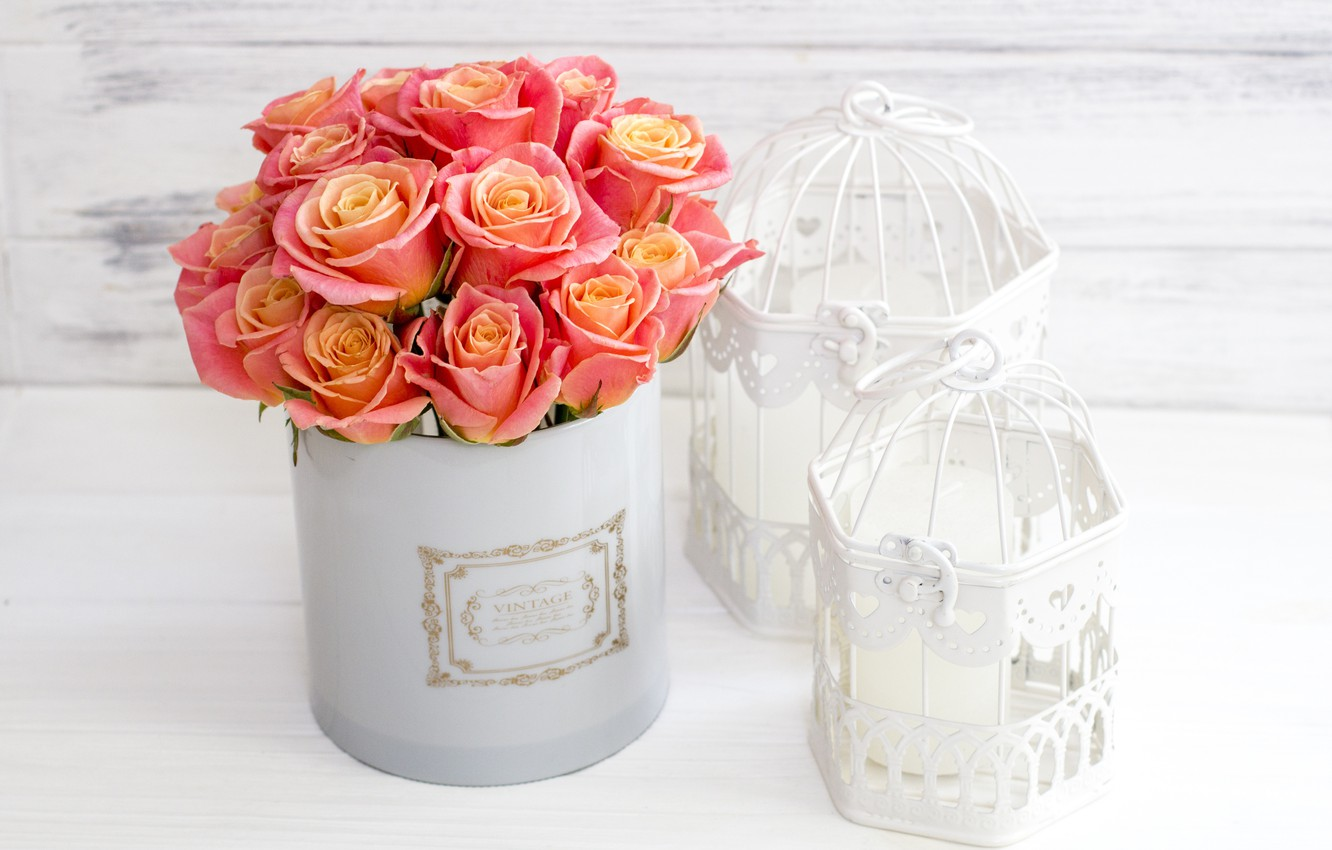 Photo wallpaper love, flowers, box, roses, bouquet, love, pink, flowers, romantic, roses, cute