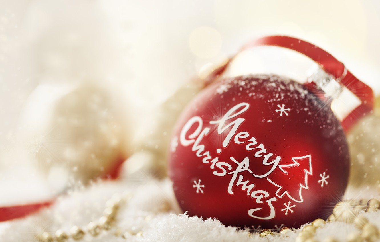 Photo wallpaper holiday, the inscription, new year, Christmas, ball toy