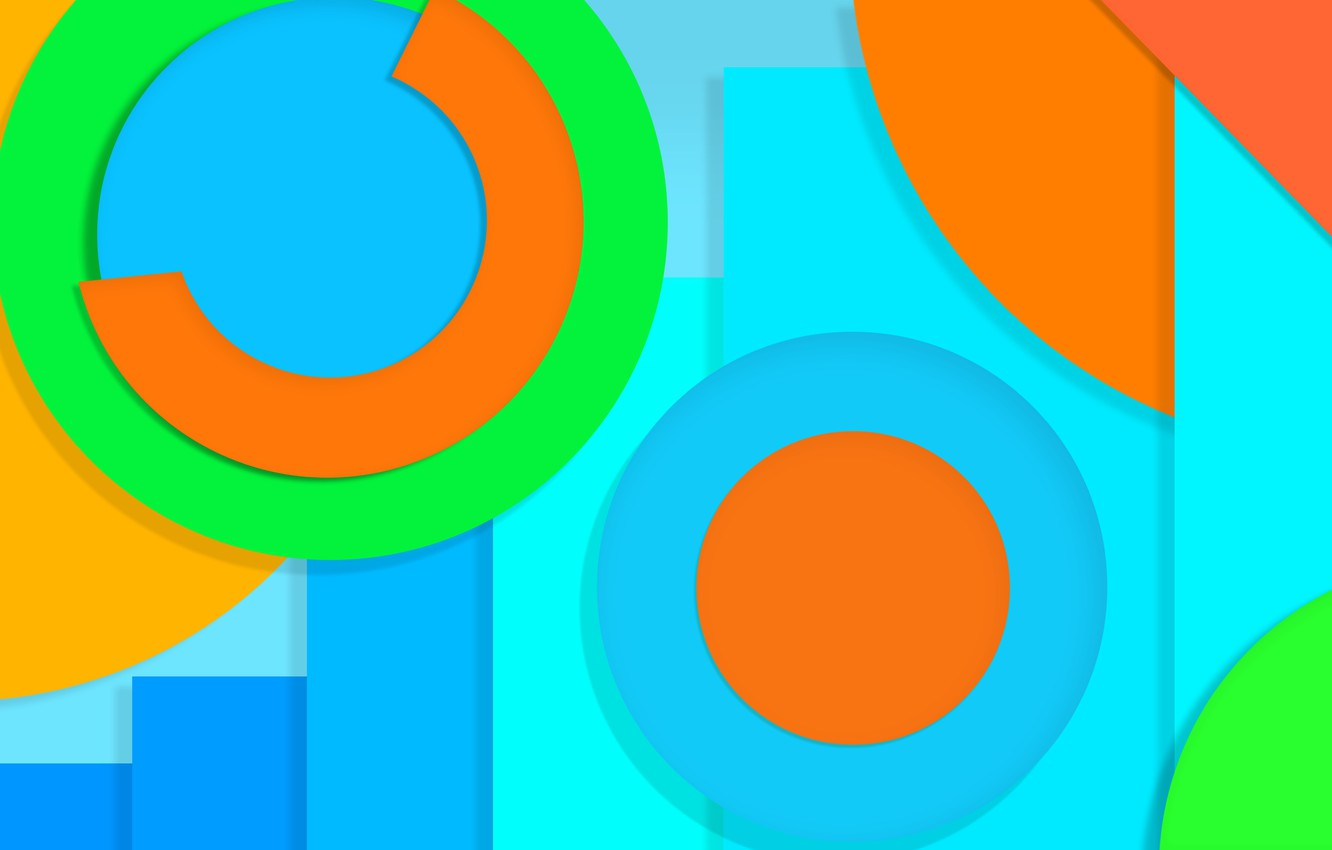 Photo wallpaper circles, yellow, abstraction, blue, green, design, color, material