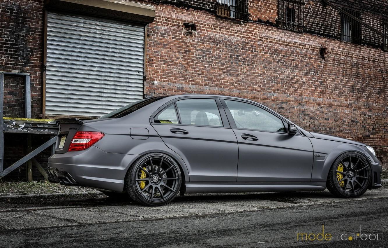 Photo wallpaper Mercedes, Grey, C63, Amg