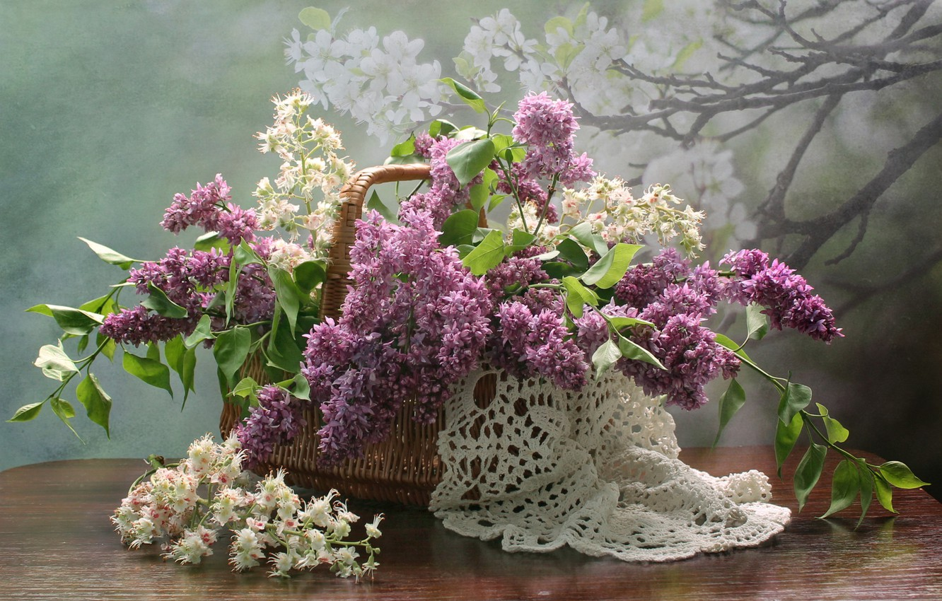 Photo wallpaper flowers, basket, spring, may, still life, lilac, chestnut, composition
