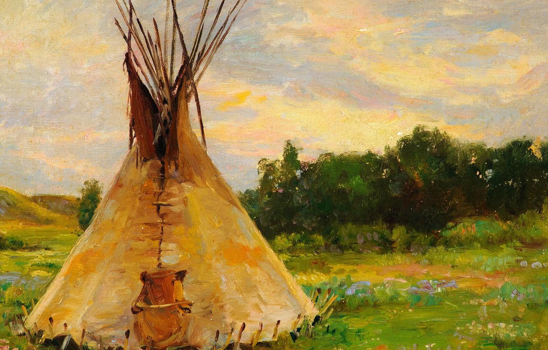 Photo wallpaper hut, chaos, Joseph Henry Sharp, Lone Tepee