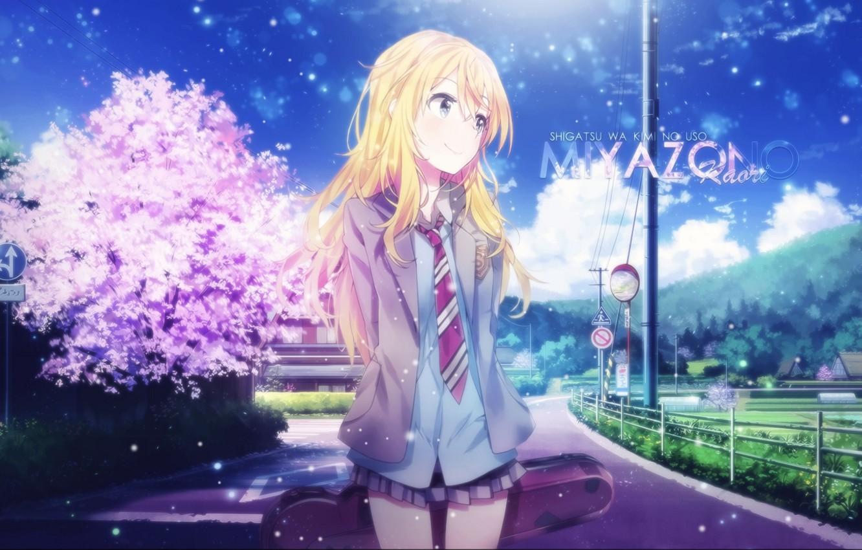 Wallpaper Anime Sunny Day Sakura Blue Sky Cute Particles