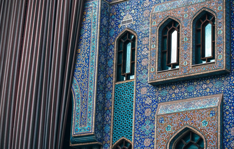 Photo wallpaper light, wall, flower, design, blue, window, peaceful, islam, iran