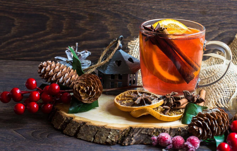 Photo wallpaper branches, berries, tree, lemon, tea, Cup, cinnamon, bumps, burlap, spices, star anise
