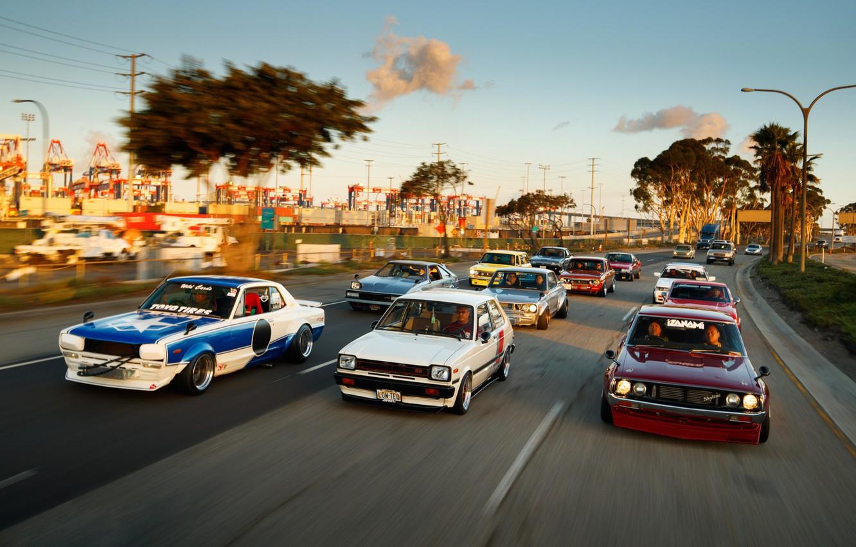 Photo wallpaper Auto, Road, Machine, Nissan, Nissan, Lights, Toyota, Car, 2000, A lot, Skyline, Nissan Skyline, Celica, …