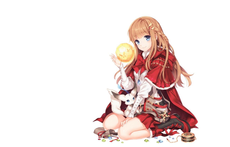 Photo wallpaper winter, magic, anime, art, costume, box, maiden, christmas girl