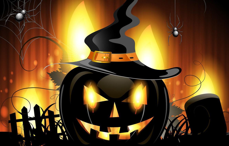 Photo wallpaper spider, Halloween, hat, holiday, artwork, pumpkin, vector art, witch hat