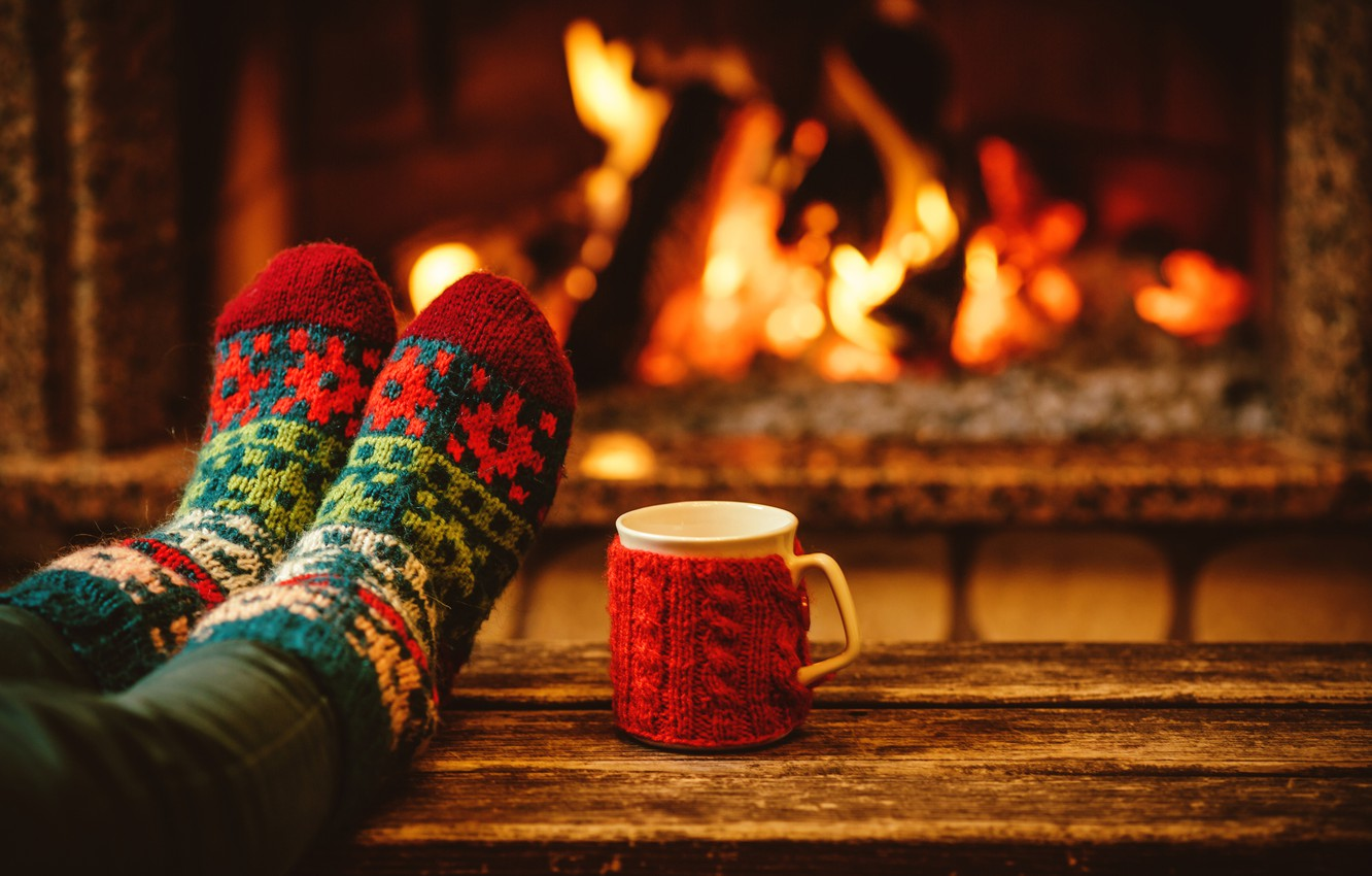 Photo wallpaper the evening, New Year, Christmas, Cup, socks, fireplace, Christmas, cup, Merry Christmas, Xmas, cocoa, fireplace, …