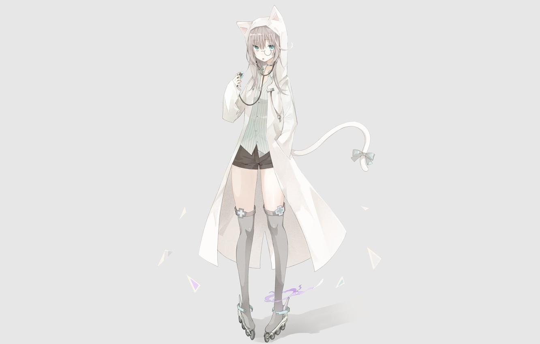 Photo wallpaper cat, girl, anime, videos, art