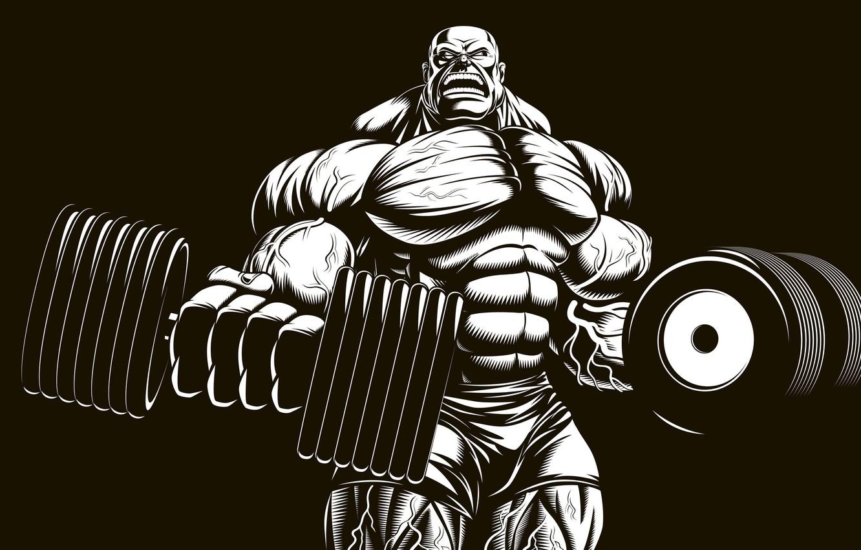 Photo wallpaper art, muscle, muscle, bodybuilding, press, dumbbells, bodybuilder, abs, dumbbells, bodybuilder