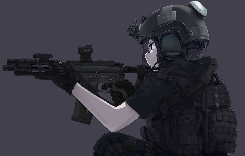 Wallpaper girl, gun, soldier, military, weapon, anime, black