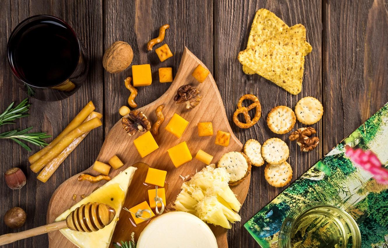 Photo wallpaper cheese, cookies, nuts, honey