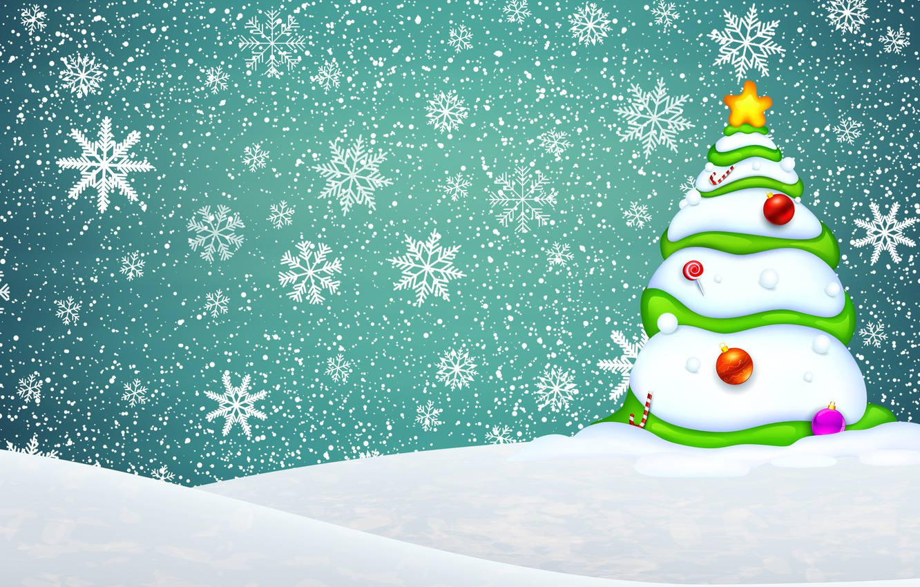 Photo wallpaper Minimalism, Snow, Christmas, Snowflakes, Background, New year, Tree, Holiday, Tree, The snow