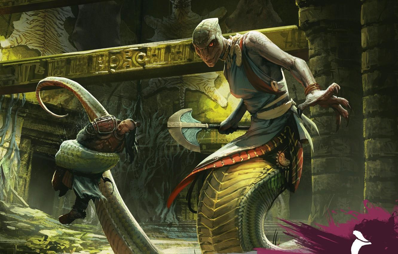 Photo wallpaper axe, snake, armor, man, fight, Yuan-ti