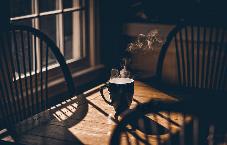 Photo wallpaper table, tree, tea, coffee, shadow, window, chair, couples, mug