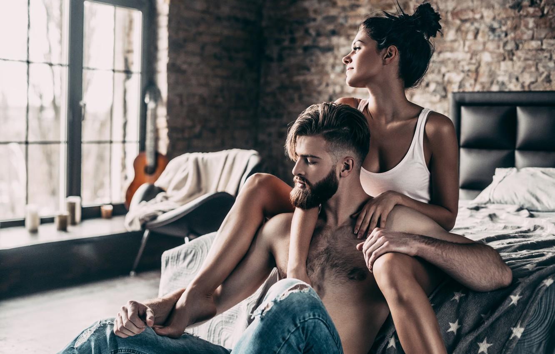 Photo wallpaper girl, mood, bed, guy, a couple