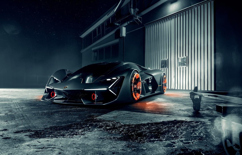 Photo wallpaper Lamborghini, Front, Silver, Hypercar, The Third Millennium