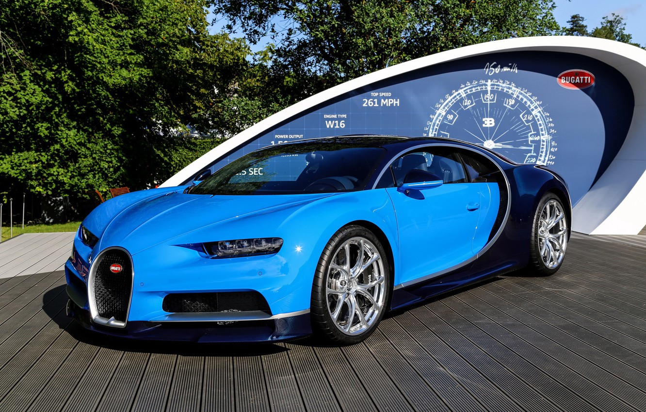 Photo wallpaper bugatti, blue, podium, chiron