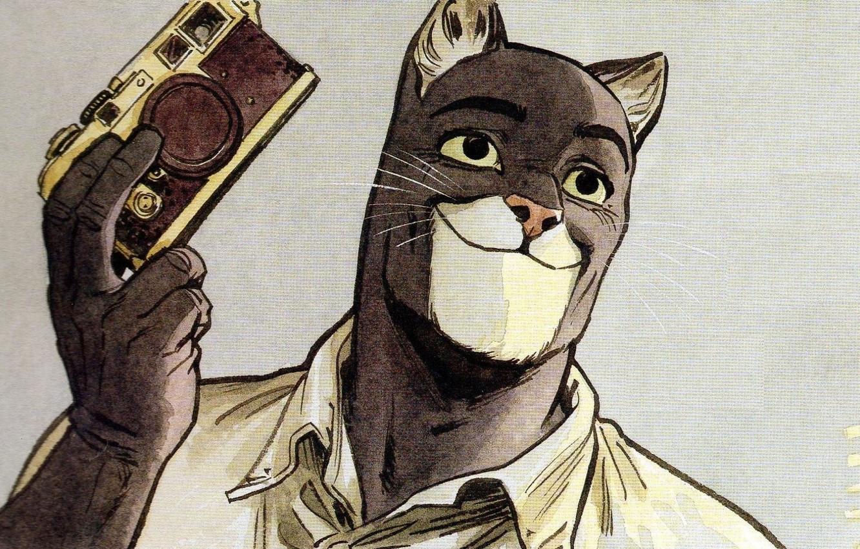 Photo wallpaper cat, art, cat, art, detective, illustration, comics, animal, illustration, blacksad